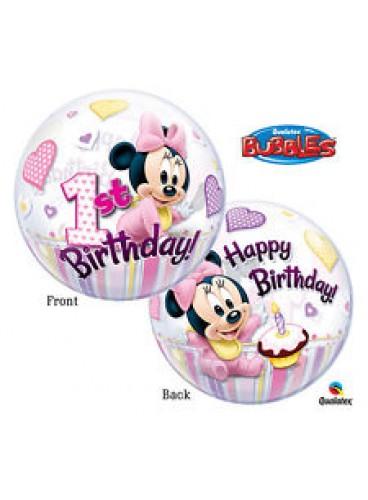 Globo Primer Cumpleaños Minnie Mouse Burbuja, 56 cm. AGOTADO.