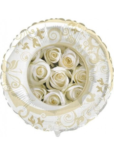 Globo Rosas Blancas, 46 cm.