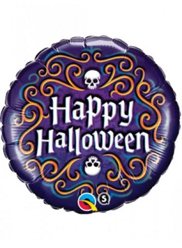 """Globo """"Happy Halloween"""" Púrpura, 46 cm."""