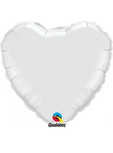 Globo Corazón Blanco, 46 cm.