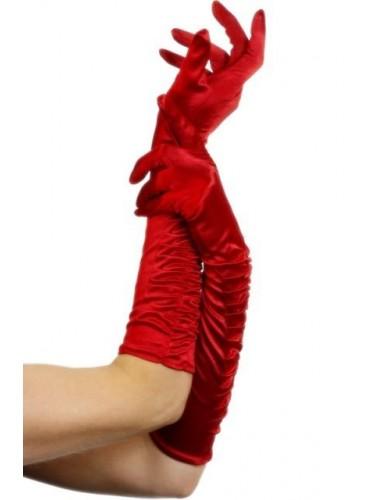 Guantes Rojos Fruncidos, 46 cm.