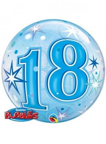 """Globo """"18"""" Azul Burbuja, 56 cm."""