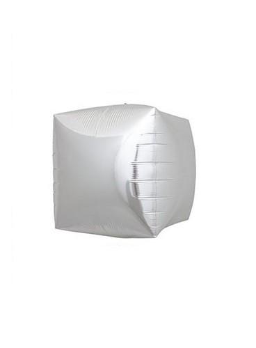 Globo Cubo Plateado, 43 cm.