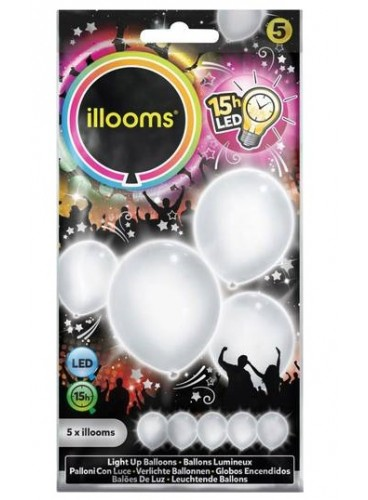 Globos Blancos Luminosos LED, 5 uds.