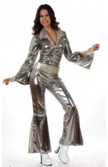 Disfraz Mujer Disco Plata