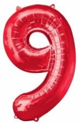 """Globo """"9"""" Rojo, 100 cm."""