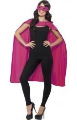 Kit Superhéroe Rosa: Capa + Antifaz