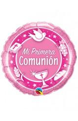 """Globo """"Mi Primera Comunión"""" Rosa, 46 cm."""