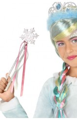 Varita Estrella Plateada Princesa Rosa, 34 cm.