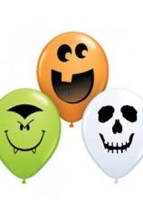 Globos Caras Halloween Surtidas 13 cm., 5 uds.