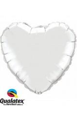 Globo Corazón Plateado, 46 cm.