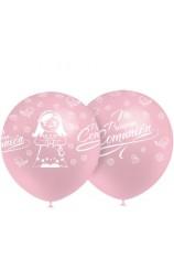 """Globos Rosas """"Mi Primera Comunión"""" 100 cm. Pro-Quality, 8 uds."""