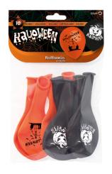 Globos Naranjas/Negros Halloween Pro-Quality 80 cm., 10 uds.
