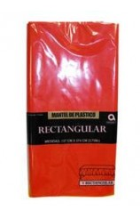 Mantel Rojo Plástico, 274 x 137 cm. AGOTADO.