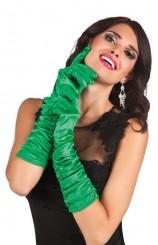 Guantes Verdes Fruncidos, 46 cm.