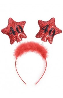 Diadema 40 Cumpleaños Estrellas Rojas