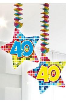 "Colgantes ""40"" Estrella, 75 cm. (2 uds.)"