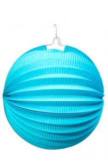 Farol Azul Celeste Redondo, 26 cm.