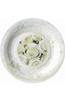 Platos Rosas Blancas 23 cm., 8 uds.