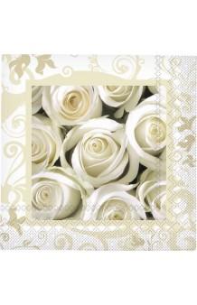 Servilletas Rosas Blancas, 20 uds. (33 x 33 cm.)