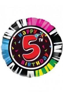 "Globo ""Happy Birthday"" Nº 5, 46 cm."