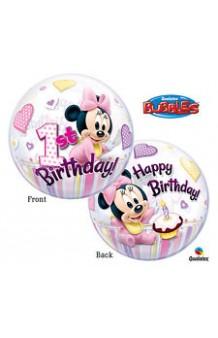 Globo Primer Cumpleaños Minnie Mouse Burbuja, 56 cm.