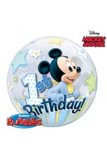 Globo Primer Cumpleaños Mickey Mouse Burbuja, 56 cm.