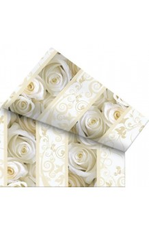 Mantel Rosas Blancas, 180 x 120 cm.