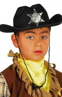 Sombrero Sheriff Negro Infantil Fieltro