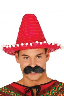 Sombrero Mejicano Rojo, 33 cm.