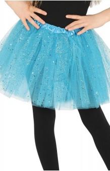 Tutú Azul Turquesa Infantil Glitter