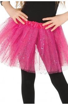 Tutú Fucsia Infantil Glitter