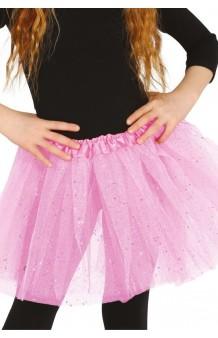 Tutú Rosa Infantil Glitter