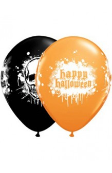 Globos 2 Colores Calaveras & Happy Halloween 28 cm., 6 uds.