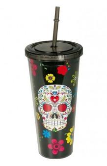 """Vaso Negro """"Día de los Muertos"""", 20 cm."""