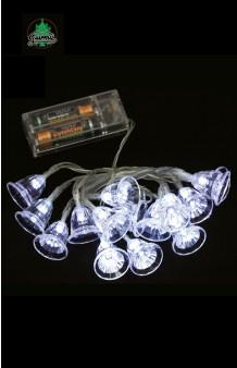 Guirnalda Luminosa 15 Campanas Blancas LED (con pilas), 150 cm.