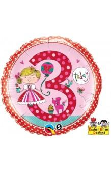 "Globo ""3"" Princesa (Rachel Ellen Designs), 46 cm."