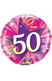 "Globo ""50"" Estrella Rosa, 46 cm."