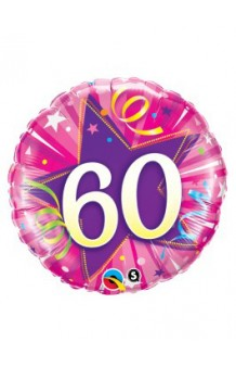 "Globo ""60"" Estrella Rosa, 46 cm."