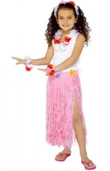 Falda Hawaiana Rosa Infantil