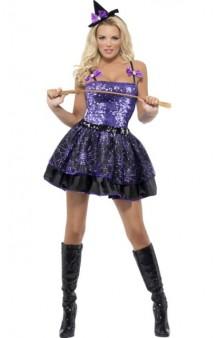 Disfraz Bruja Violeta Brillante Fever