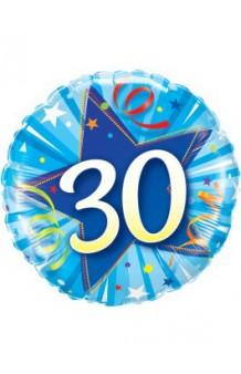 """Globo """"30"""" Estrella Azul, 46 cm."""