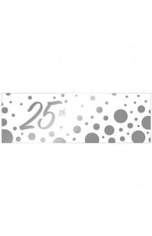 """Banner """"25"""" Plata, 152 x 50 cm."""