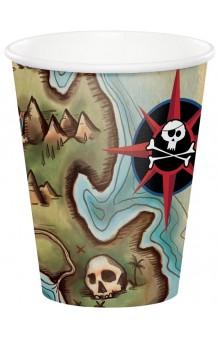 Vasos Mapa Pirata, 8 uds.