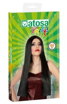 Peluca Negra Lisa, 60 cm.