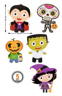 Set 5 Figuras Infantiles Halloween, 30 x 26 cm.