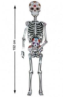 """Figura Decoración Esqueleto """"Día de los Muertos"""", 152 cm."""