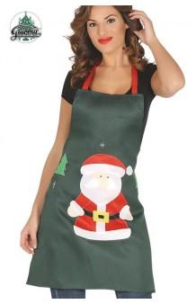 Delantal Navidad Verde, 85 cm.