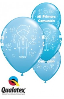Globos Primera Comunión Azules Combi, 5 uds. (100 cm.)