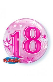 """Globo """"18"""" Rosa Burbuja, 56 cm."""